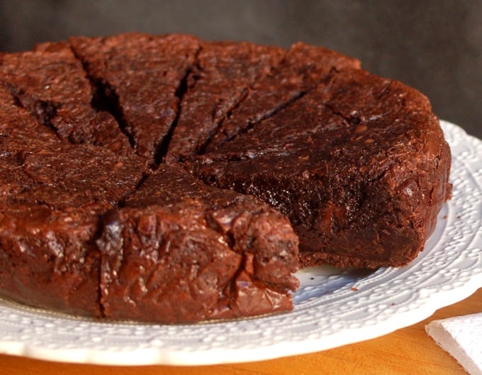 Brownie Mix Brownies on a white plate