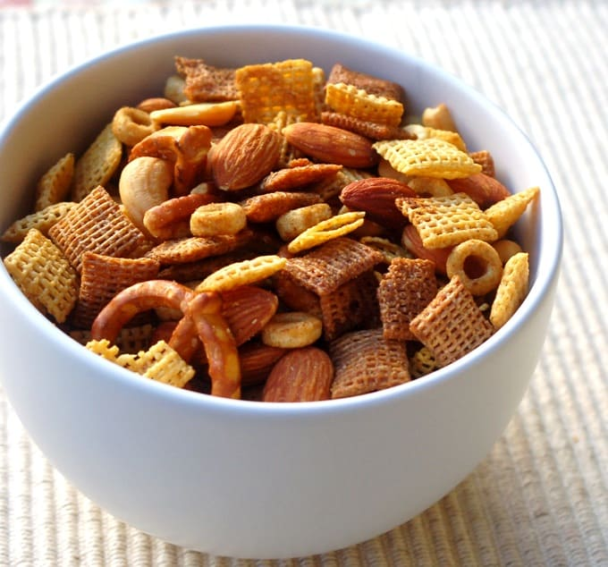 Chex Party snack mix in a white bowl