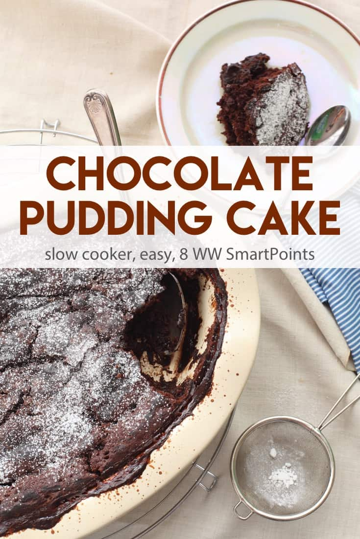 Easy Slow Cooker Chocolate Pudding Cake where the chocolate batter rises to the top and turns into cake with a layer of rich chocolate pudding below - only 169 calories and 8 Weight Watchers Freestyle SmartPoints! #simplenourishedliving #weightwatchers #wwfamily #wwsisterhood #ww #dessert #wwdessert #slowcooker #crockpot #beyondthescale
