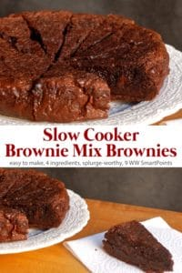 Slow cooker brownie mix brownies cut into wedges on white plate with one brownie wedge sitting on white napkin next to the plate.