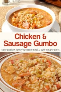 Slow Cooker Chicken and Sauste Gumbo in white bowl.