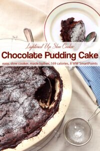 Slow Cooker Chocolate Pudding Cake dusted with powdered sugar with serving spoon and piece of chocolate cake on small dish