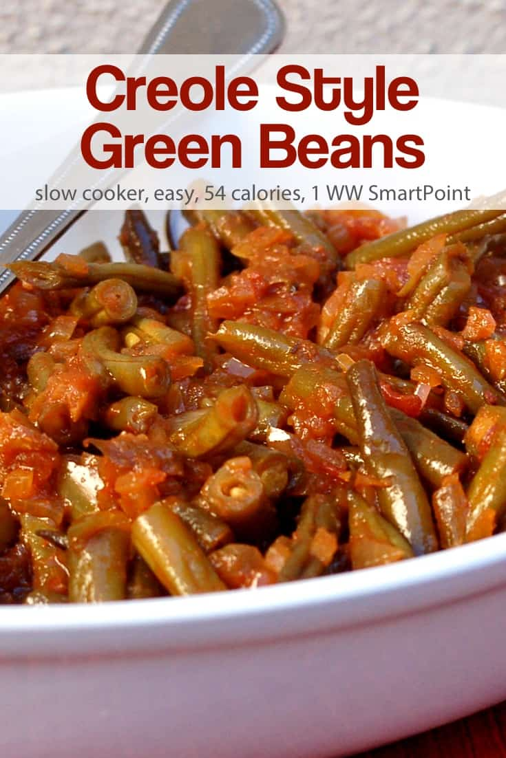 I adpated the recipe for these creole style slow cooker green beans from Fix-It and Forget-It Big Cookbook: 1400 Best Slow Cooker Recipes! by Phyllis Pellman Good. To make the recipe lighter, healthier and more WW friendly, I used 2 teaspoons of olive oil instead of 1/4 cup butter and decreased the brown sugar to 1 tablespoon. #slowcookercreolestylegreenbeans #greenbeans #slowcooker #creole