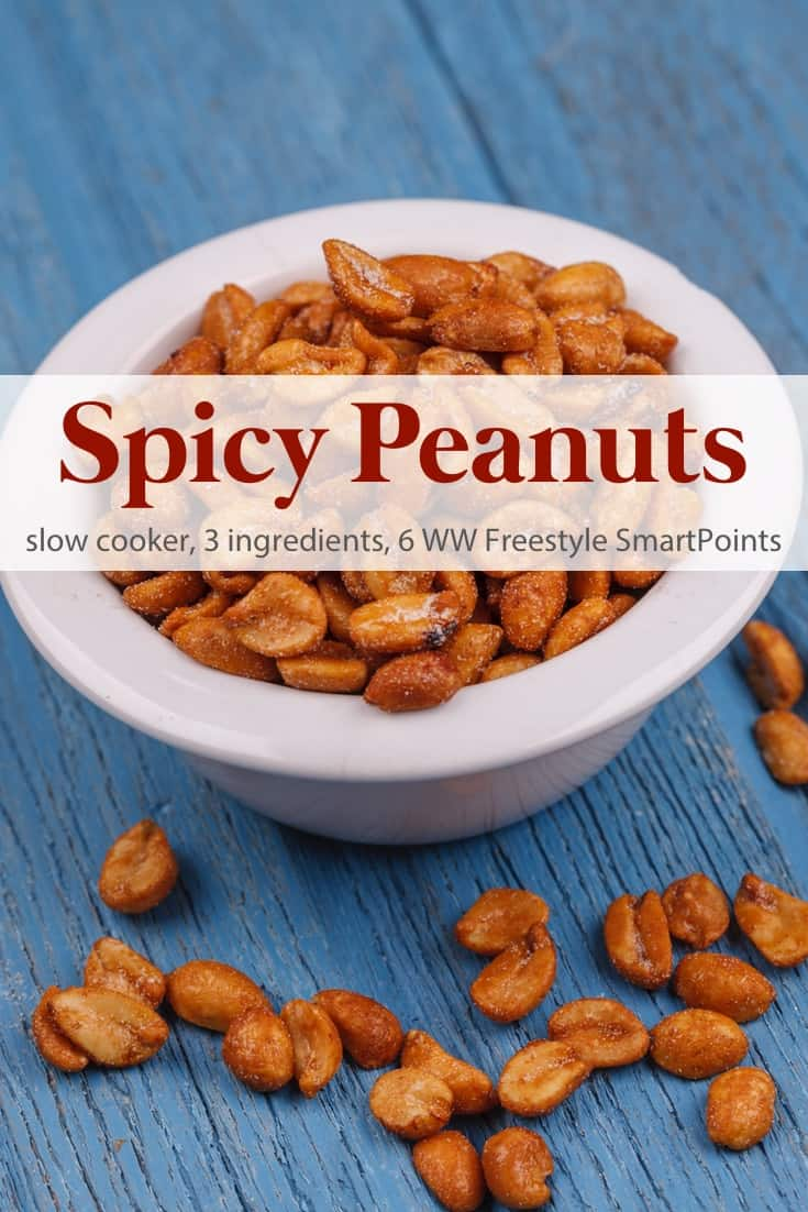 A quick & easy, 3-ingredient snack or last minute gift, these slow cooker spicy nuts are flavorful, without being overpowering - 6 Weight Watchers Freestyle SmartPoints! #slowcookerspicypeanuts #spicypeanuts #slowcooker #crockpot #ww #weightwatchers #wwfamily #wwsisterhood