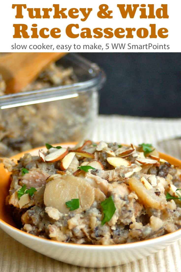 This Slow Cooker Turkey & Wild Rice Casserole is a great way to use up leftover holiday turkey (or rotisserie chicken) and turns out creamy, crunchy and satisfying with just 5 WW Freestyle SmartPoints! #slowcookerturkeywildricecasserole #casserole #slowcooker