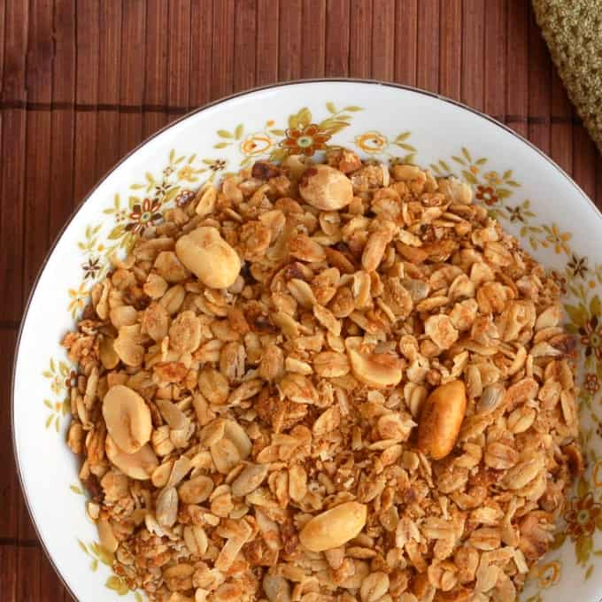 Slow cooker peanut butter granola in bowl from above.