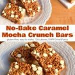 No-bake caramel mocha crunch cereal bars on white dessert plate.