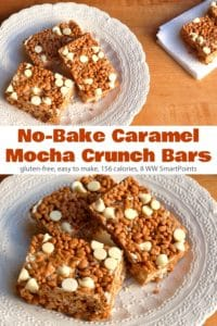 No-bake caramel mocha crunch cereal bars on white dessert plate.