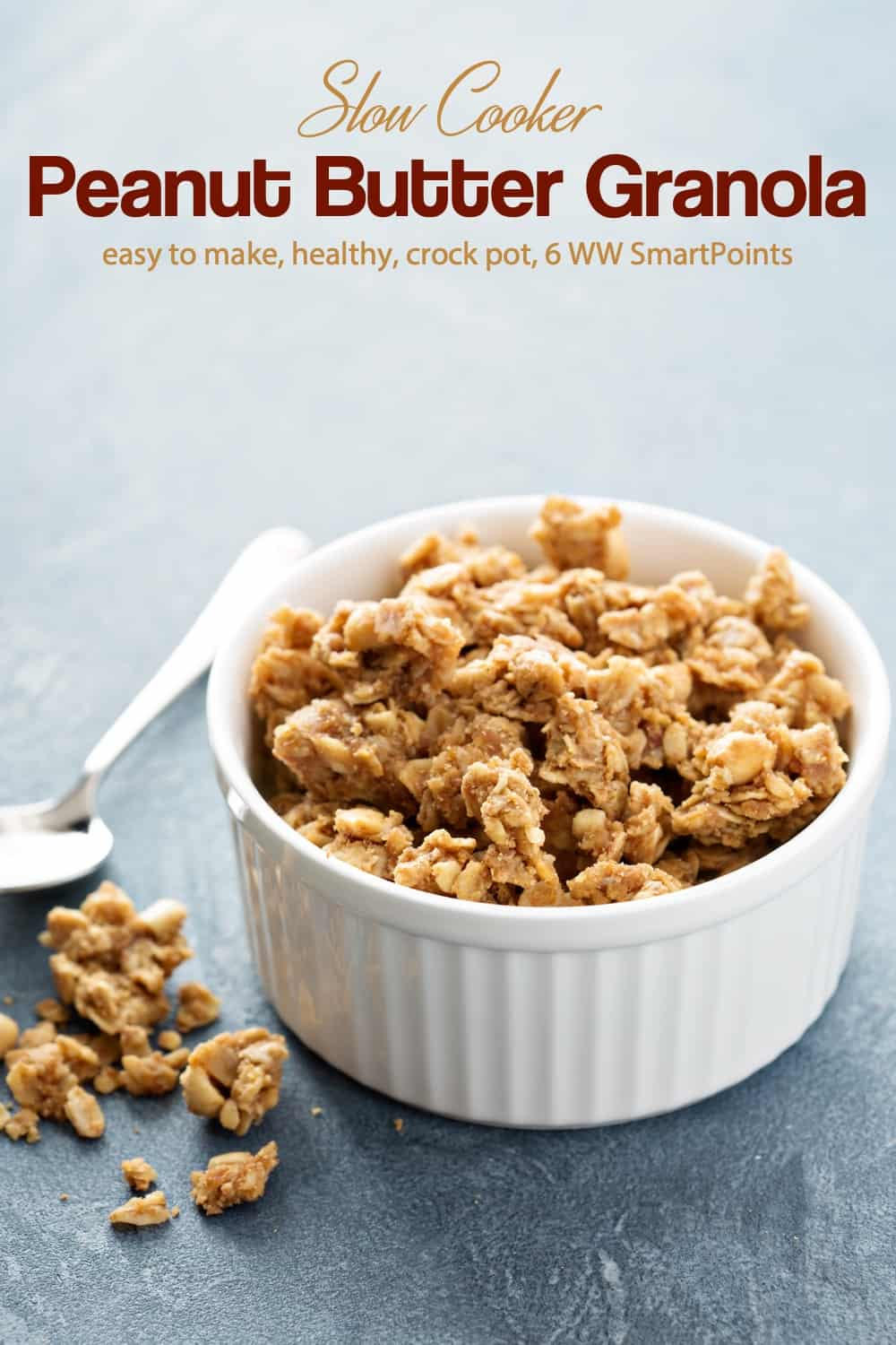 Crunchy, delicious and filled with all my favorite things, like coconut, sunflower seeds and peanuts, this slow cooker peanut butter granola is a winner with just 162 calories and 6 WW Freestyle SmartPoints! #slowcookerpeanutbuttergranola #peanutbuttergranola #granola #weightwatchers #ww #wwfamily #slowcooker #crockpot