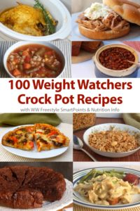 Collage of healthy Weight Watchers friendly slow cooker recipes including brownies, chicken and gravy, peanut butter granola, pizza and baked beans.