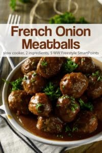 Bowl of French Onion Meatballs garnished with parsley