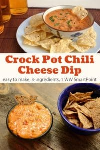 Bowl of chili cheese dip with plate of tortilla chips for dipping.