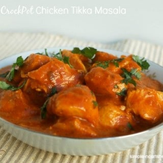 Easy CrockPot Chicken Tikka Masala white bowl beige mat close up front