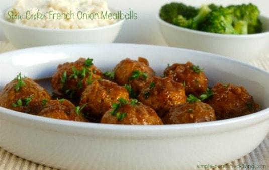Crock Pot French Onion Meatballs - 5 Weight Watchers Freestyle SmartPoints