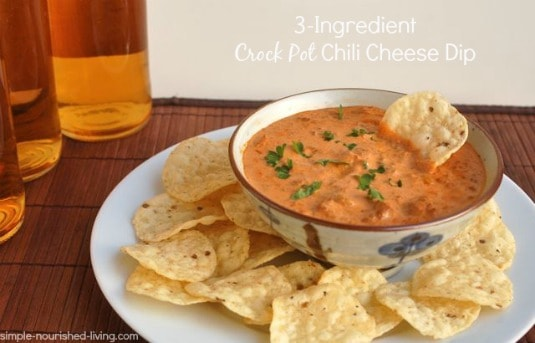 3 Ingredient Slow Cooker Chili Cheese Dip