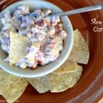 Slow Cooker Corn Dip surrounded by chips from above
