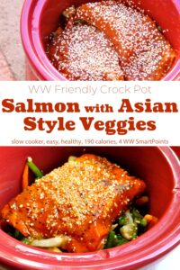 Red crock pot with salmon fillets and sesame seeds over Asian-style vegetables.