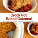 Piece of baked oatmeal with fresh berries near crock pot with rest of baked oatmeal.
