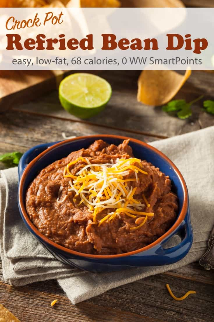 5-Ingredient Crock Pot Refried Bean Dip is the perfect light and healthy appetizer or snack. Toss 5 everyday ingredients into your slow cooker and two hours later you're treated with this delicious low-fat dip. Only 68 calories, 0 Weight Watchers Freestyle SmartPoints per serving! #simplenourishedliving #weightwatchers #wwfamily #ww #smartpoints #wwfreestyle #wwsmartpoints #slowcooker #crockpot #lowfat