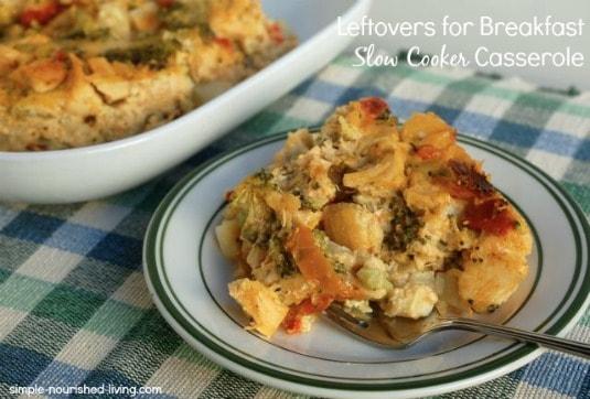 Leftover Breakfast Crock Pot Casserole