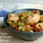 Slow Cooker Szechuan Chicken and Broccoli Blue Japanese Bowl