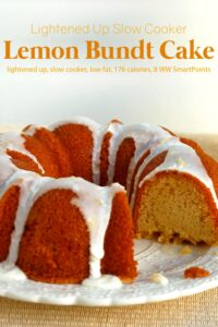 Iced lemon bundt cake on white cake plate.