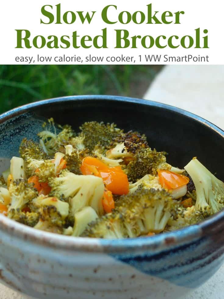 Roasted broccoli in pretty blue ceramic pottery bowl