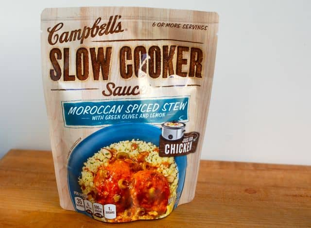 Campbell's Easy Slow Cooker Moroccan Chicken Sauce in package.