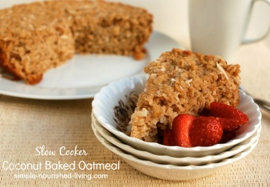Crock Pot Baked Oatmeal with coconut