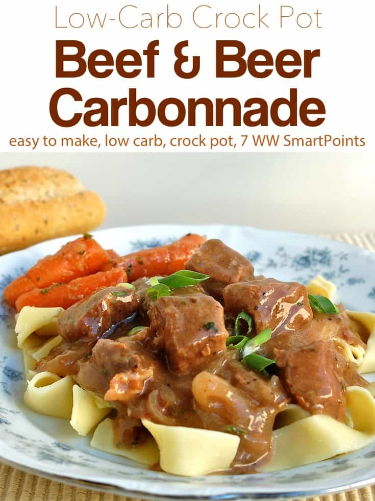 Belgian-Style Beef and Beef Carbonnade over noodles with apple-glazed carrots