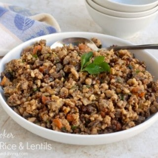 slow cooker brown rice and lentils