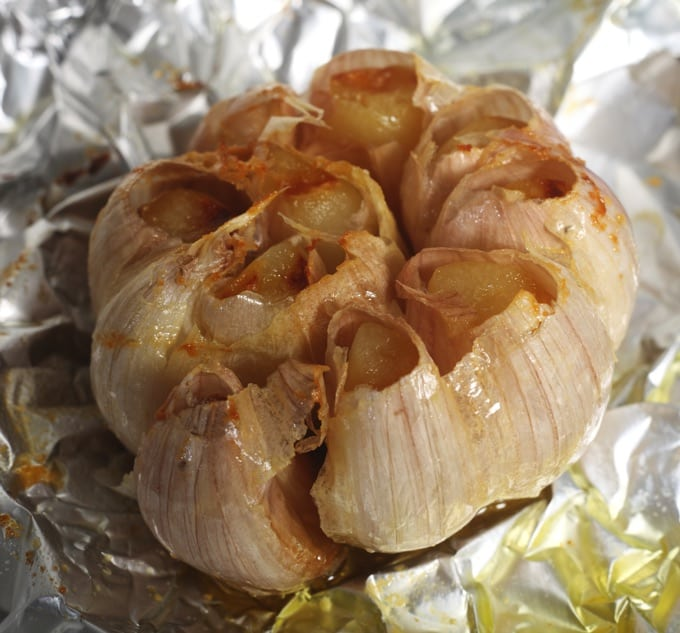 Slow Cooker roasted garlic bulb in tin foil