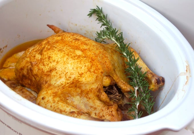 Slow Cooker Rosemary Chicken in white crockpot