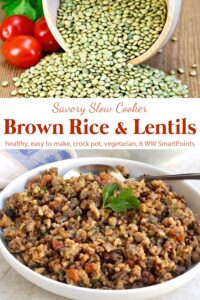 Slow Cooker Brown Rice and Lentils in white bowl next to uncooked green lentils