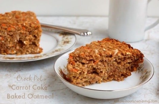 Weight Watchers Friendly Crock Pot Carrot Cake Baked Oatmeal wedge on china bowl