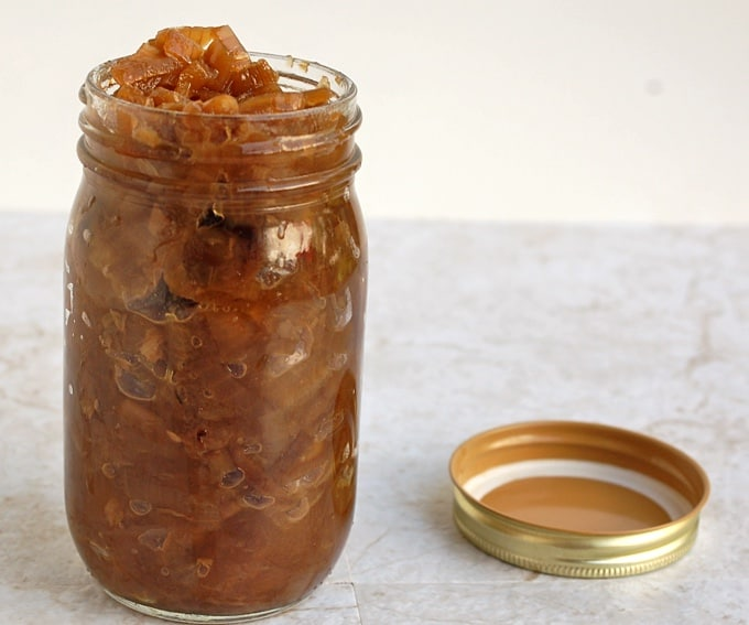 Mason jar filled with caramelized onions