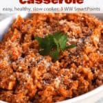 Cabbage Roll Casserole in a white serving dish
