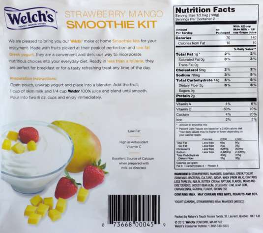 Welchs Smoothie Package Nutritionals