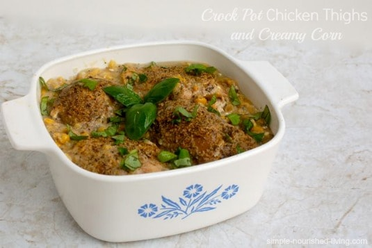 Crock Pot Chicken Thighs with Creamy Corn