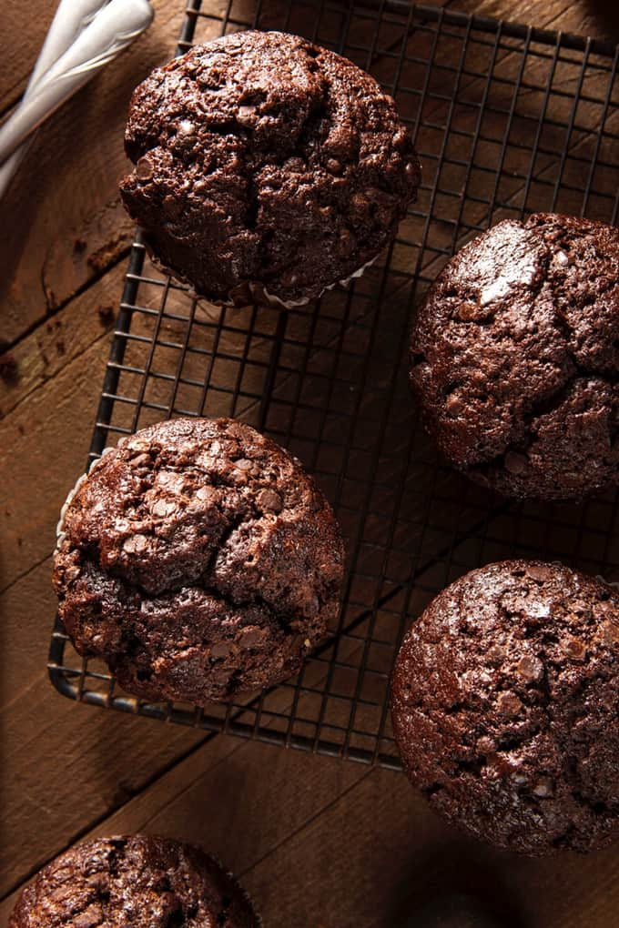 Double Chocolate Bran Muffins on Cooling Rack
