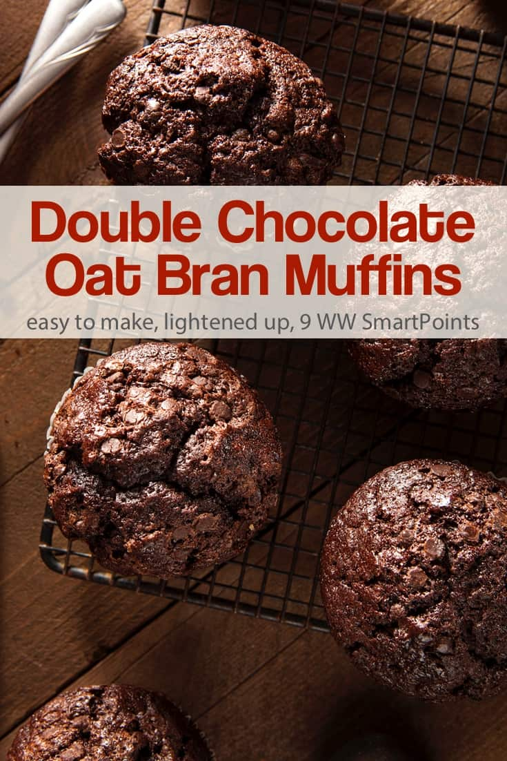 Double chocolate bran muffins, a not too sweet muffin w/ 210 calories, 5 Weight Watchers PointsPlus, 9 Freestyle SmartPoints, Mini Muffins 3 SmartPoints! #simplenourishedliving #ww #weightwatchers #wwfamily #wwsisterhood #smartpointsfam #wwfreestyle #wwsmartpoints #smartpoints #beyondthescale #becauseitworks