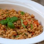 Farro with tomatoes, basil and Parmesan