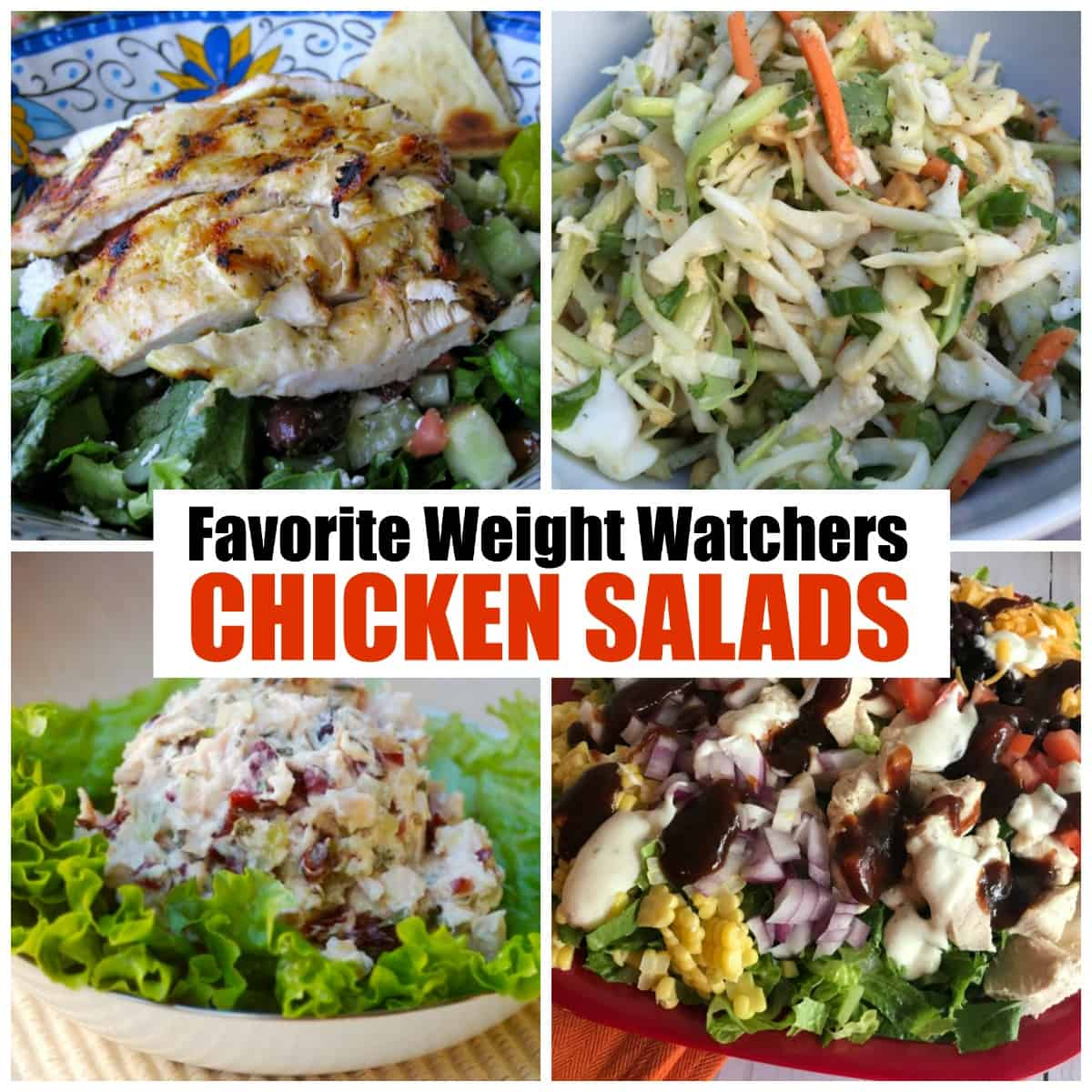 Collage with four chicken salads including Greek chicken salad, Chinese chicken salad, Chicken salad with apples and cranberries and BBQ chicken salad.