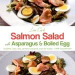 Mixed greens with flaked salmon, sliced boiled egg and asparagus on white plate