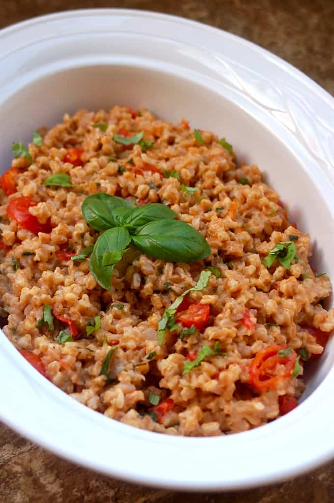 Farro with Cherry Tomatoes, Basil and Parmesan Cheese in white serving dish