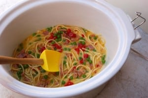 Slow Cooker Spaghetti Frittata Uncooked