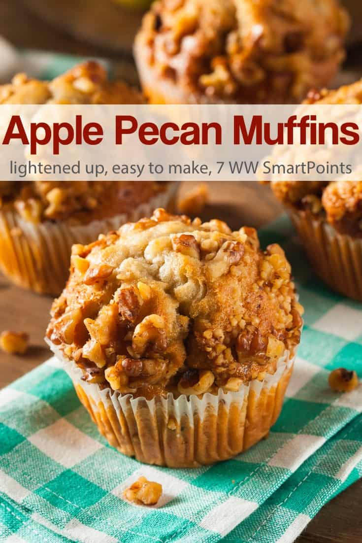 This apple pecan muffin recipe is full of chunks of apple and topped with a delicious crunchy mixture of pecans, cinnamon and sugar - 7 Weight Watchers Freestyle SmartPoints! #simplenourishedliving #weightwatchers #ww #wwfamily #wwsisterhood #easyhealthyrecipes #smartpoints #wwfreestyle #wwsmartpoints #smartpointsfam #beyondthescale #becauseitworks #applemuffins