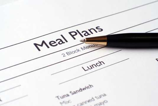 Meal plan close up with pen