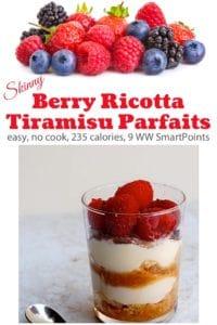 Berry Ricotta Tiramisu in a small dessert glass with fresh berries