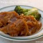 Mom's 3 Packet Slow Cooker Roast and broccoli white plate with green rim